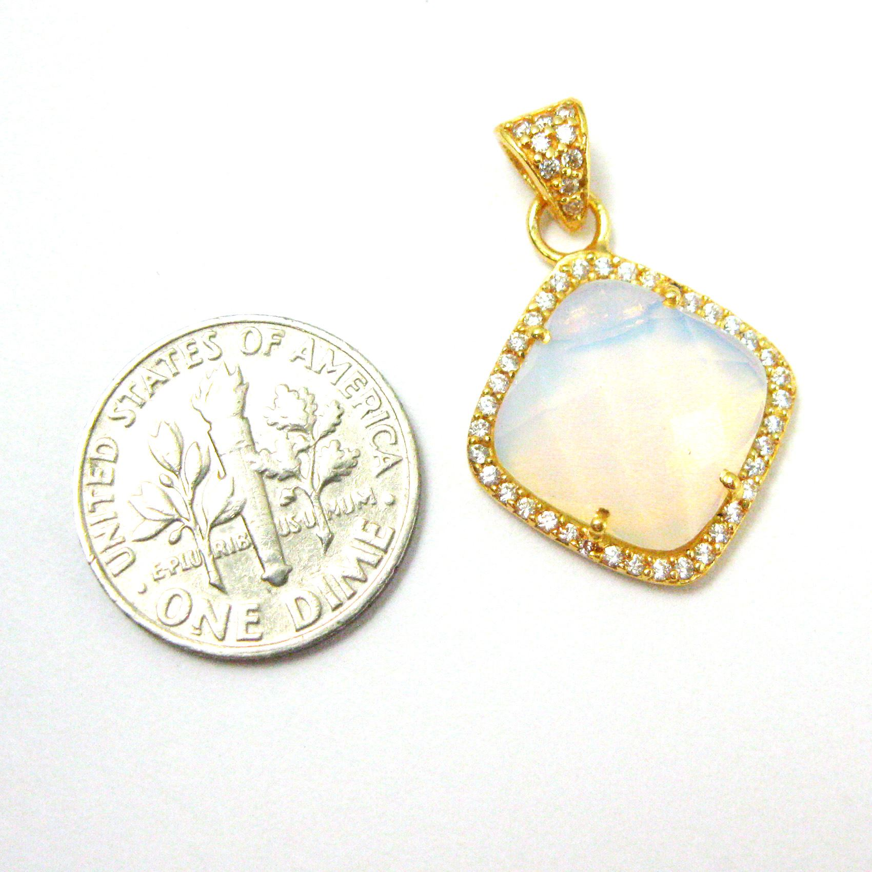 Gold plated Sterling Silver Pave Bezel Gemstone Pendant - Cubic Zirconia Pave Setting -  Diamond Shape Faceted Stone- Opalite Quartz- 17mm
