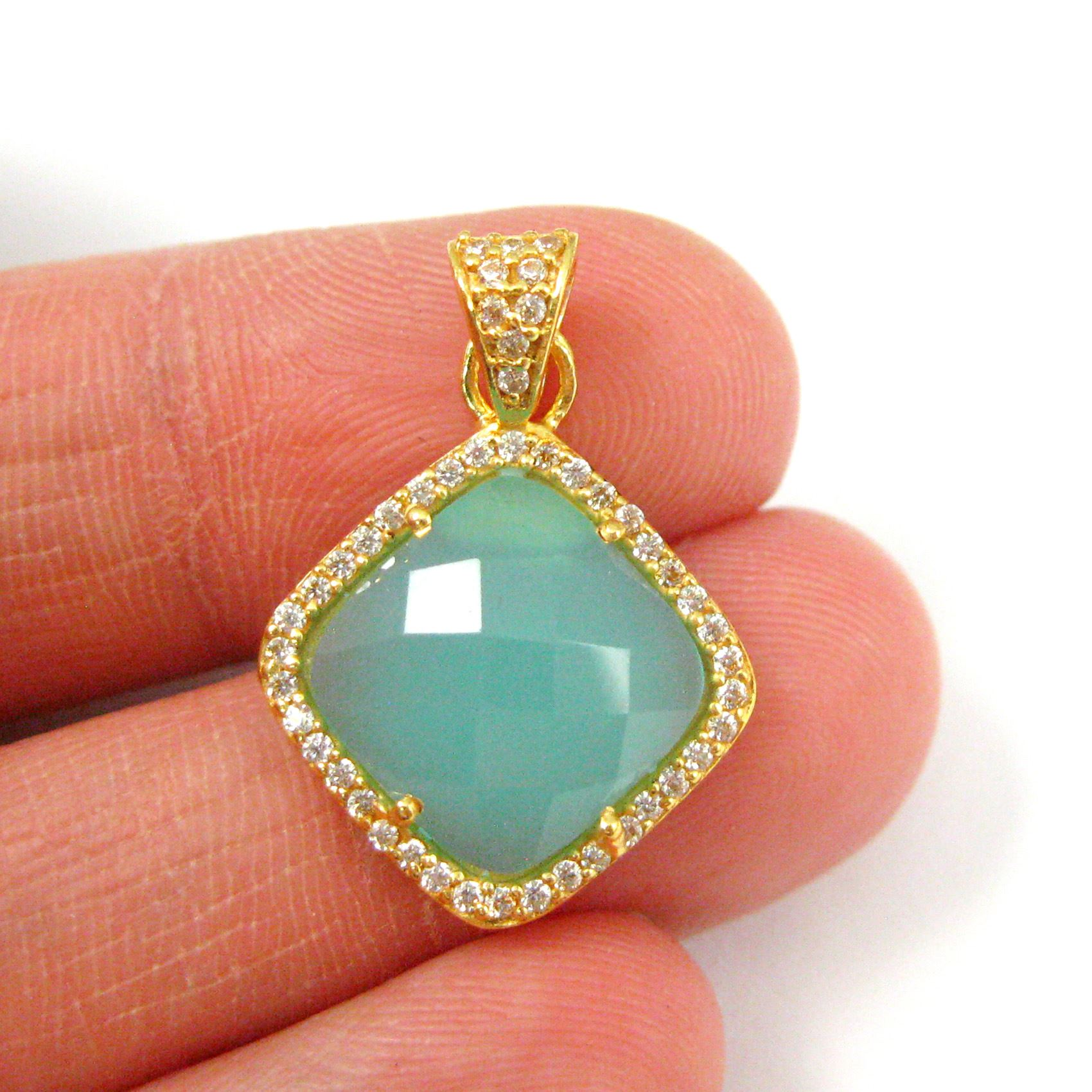 Gold plated Sterling Silver Pave Bezel Gemstone Pendant - Cubic Zirconia Pave Setting -  Diamond Shape Faceted Stone- Peru Chalcedony - 17mm
