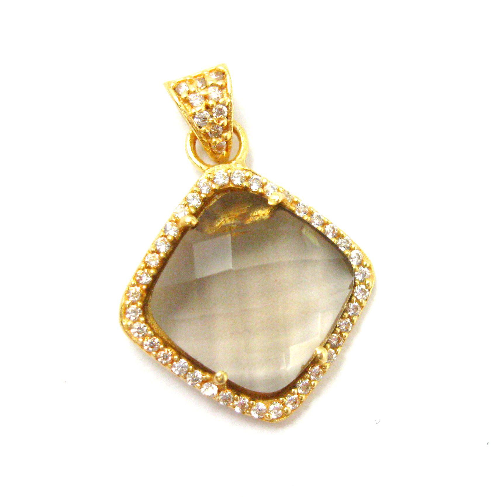 Gold plated Sterling Silver Pave Bezel Gemstone Pendant - Cubic Zirconia Pave Setting -  Diamond Shape Faceted Stone- Smokey Quartz - 17mm