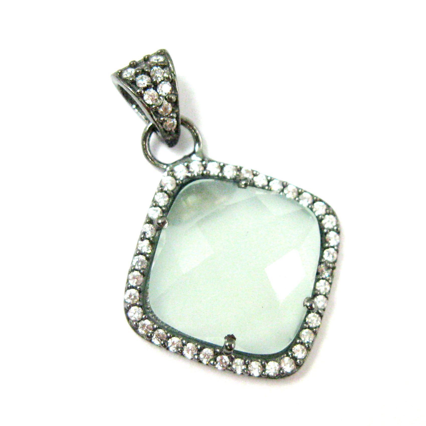 Oxidized Sterling Silver Pave Bezel Gemstone Pendant - Cubic Zirconia Pave Setting -  Diamond Shape Faceted Stone-Aqua Chalcedony - 17mm