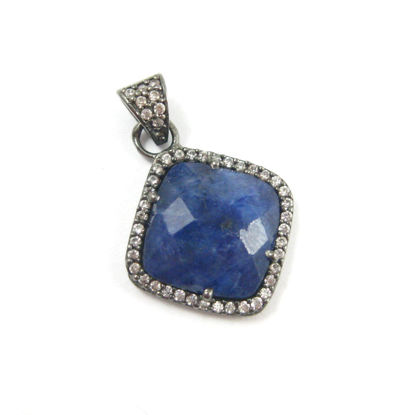 Oxidized Sterling Silver Pave Bezel Gemstone Pendant - Cubic Zirconia Pave Setting -  Diamond Shape Faceted Stone-Blue Sapphire Dyed- 17mm