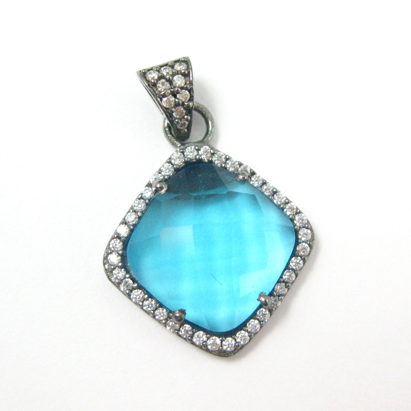 Oxidized Sterling Silver Pave Bezel Gemstone Pendant - Cubic Zirconia Pave Setting -  Diamond Shape Faceted Stone-Blue Topaz Quartz- 17mm