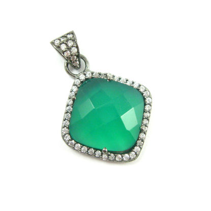 Oxidized Sterling Silver Pave Bezel Gemstone Pendant - Cubic Zirconia Pave Setting -  Diamond Shape Faceted Stone- Green Onyx - 17mm