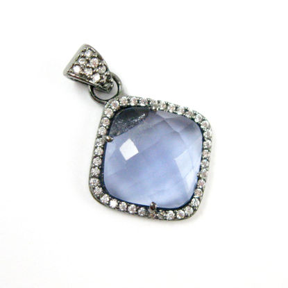 Pave Diamond Black Druzy Double Bail Pendant Connector set in a Oxidized Sterling Silver Bezel with Pave Diamonds EX21-78