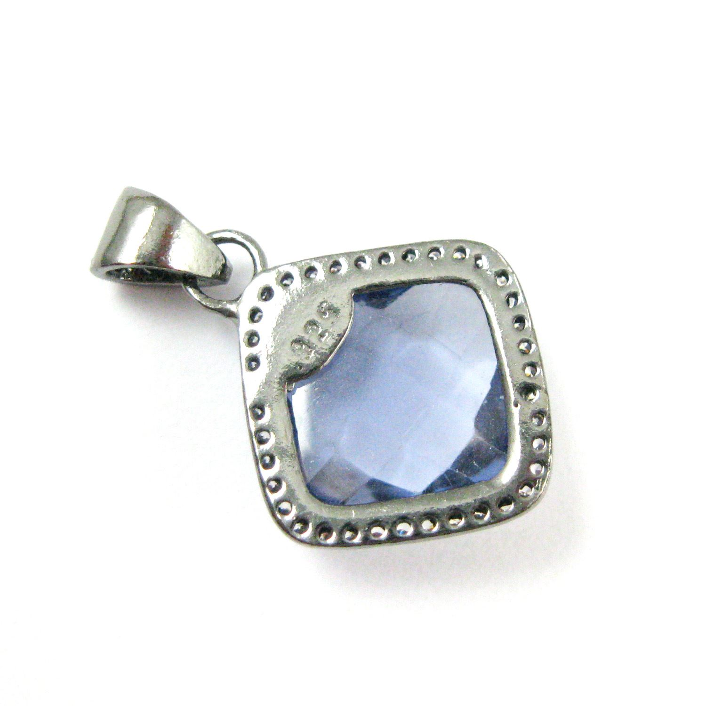 Oxidized Sterling Silver Pave Bezel Gemstone Pendant - Cubic Zirconia Pave Setting -  Diamond Shape Faceted Stone- Iolite Quartz - 17mm