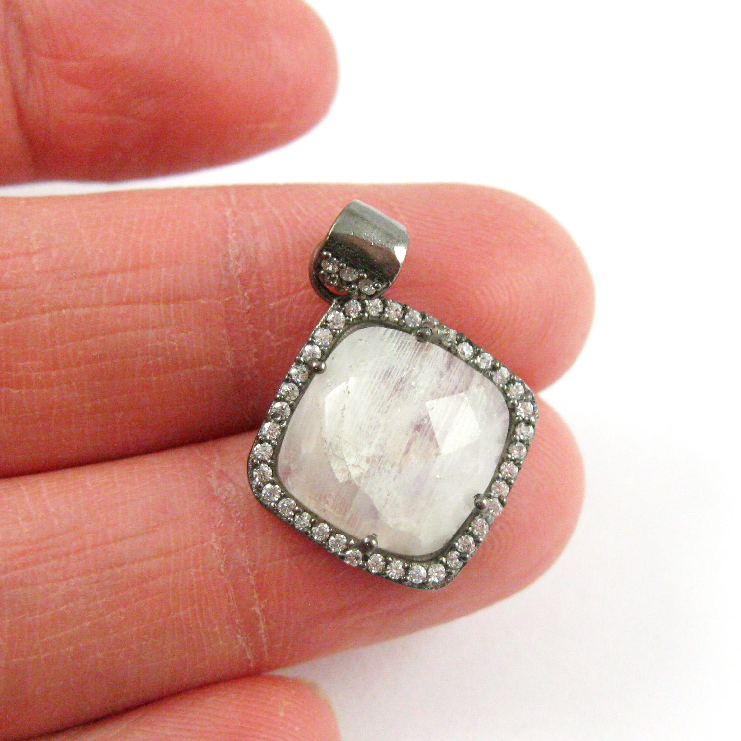 Oxidized Sterling Silver Pave Bezel Gemstone Pendant - Cubic Zirconia Pave Setting -  Diamond Shape Faceted Stone- Moonstone - 17mm