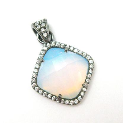 Oxidized Sterling Silver Pave Bezel Gemstone Pendant - Cubic Zirconia Pave Setting -  Diamond Shape Faceted Stone- Opalite Quartz - 17mm