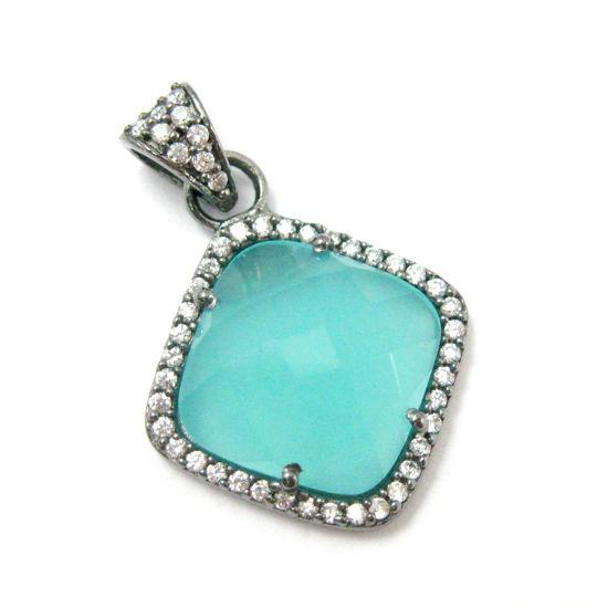 Oxidized Sterling Silver Pave Bezel Gemstone Pendant - Cubic Zirconia Pave Setting -  Diamond Shape Faceted Stone- Peru Chalcedony - 17mm