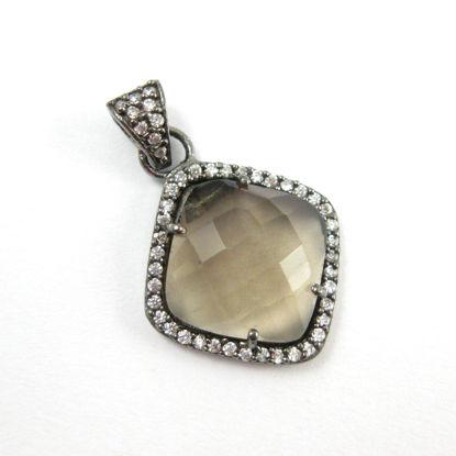 Oxidized Sterling Silver Pave Bezel Gemstone Pendant - Cubic Zirconia Pave Setting -  Diamond Shape Faceted Stone- Smokey Quartz - 17mm