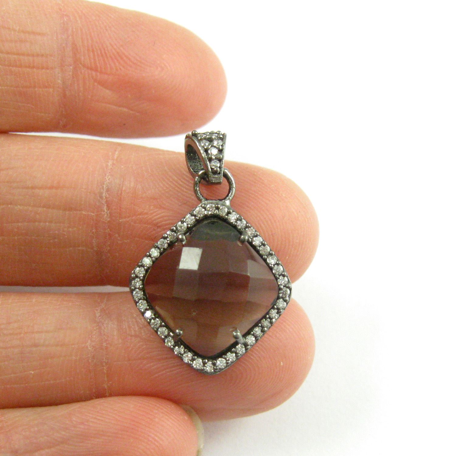 Oxidized Sterling Silver Pave Bezel Gemstone Pendant - Cubic Zirconia Pave Setting -  Diamond Shape Faceted Stone- Smokey Quartz - 17mm