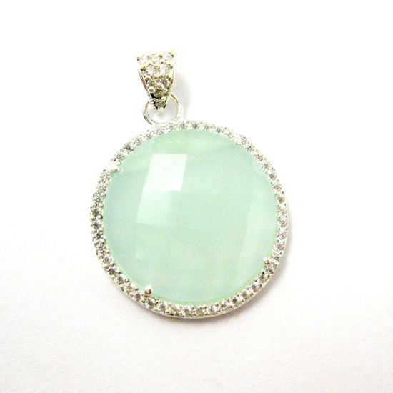 Sterling Silver Pave Bezel Gemstone Pendant - Cubic Zirconia Pave Setting -  Round Faceted Stone-Aqua Chalcedony - 21mm
