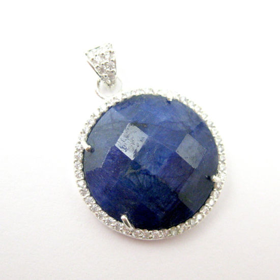 Sterling Silver Pave Bezel Gemstone Pendant - Cubic Zirconia Pave Setting -  Round Faceted Stone-Blue Sapphire Dyed - 21mm