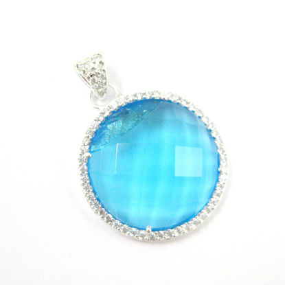 Sterling Silver Pave Bezel Gemstone Pendant - Cubic Zirconia Pave Setting -  Round Faceted Stone-Blue Topaz Quartz- 21mm
