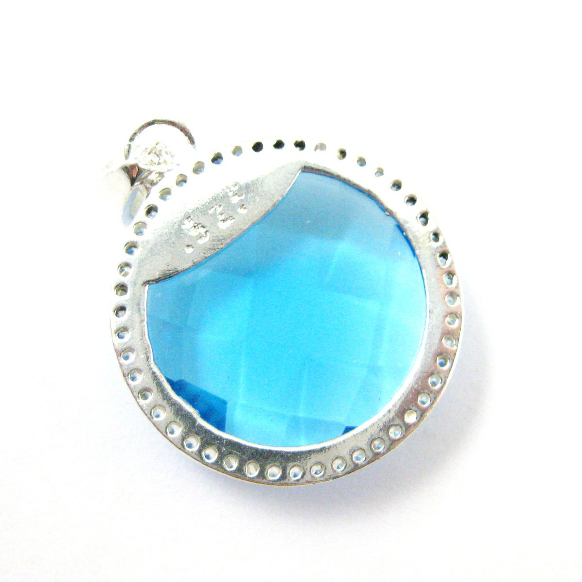 Sterling Silver Pave Bezel Gemstone Pendant - Cubic Zirconia Pave Setting -  Round Faceted Stone-Blue Topaz Quartz- 21mm