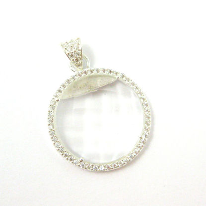 Sterling Silver Pave Bezel Gemstone Pendant - Cubic Zirconia Pave Setting -  Round Faceted Stone-Crystal Quartz- 21mm