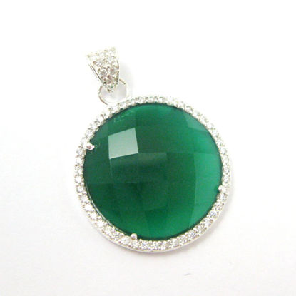 Sterling Silver Pave Bezel Gemstone Pendant - Cubic Zirconia Pave Setting -  Round Faceted Stone-Green Onyx- 21mm