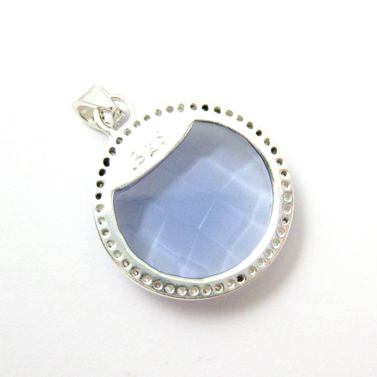 Sterling Silver Pave Bezel Gemstone Pendant - Cubic Zirconia Pave Setting -  Round Faceted Stone-Iolite Quartz- 21mm