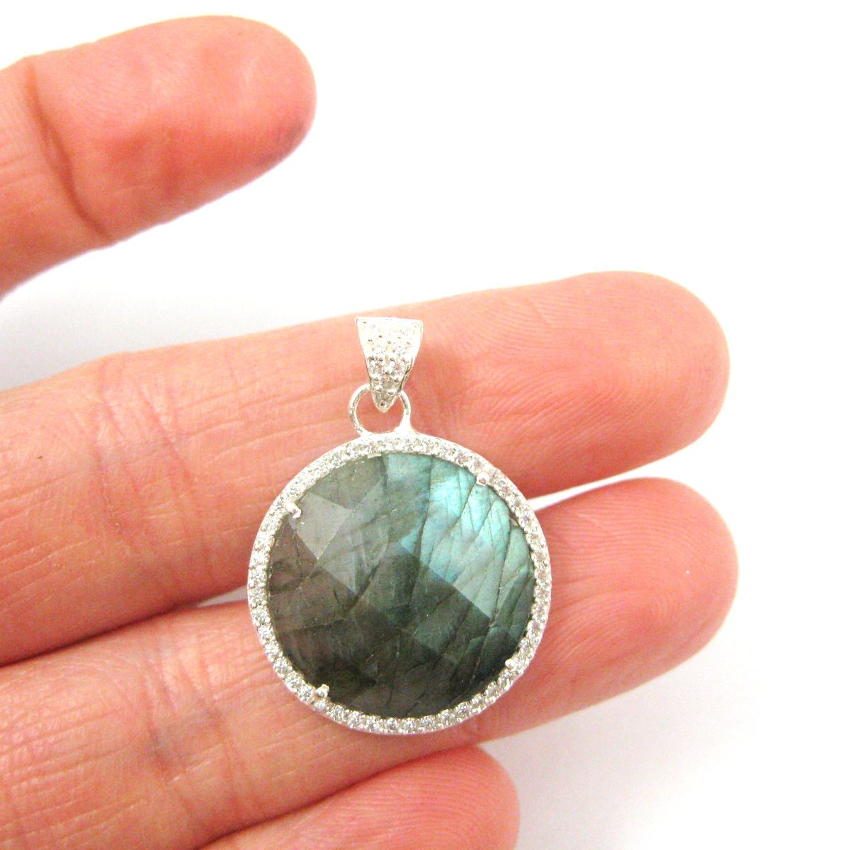 Sterling Silver Pave Bezel Gemstone Pendant - Cubic Zirconia Pave Setting -  Round Faceted Stone-Labradorite- 21mm