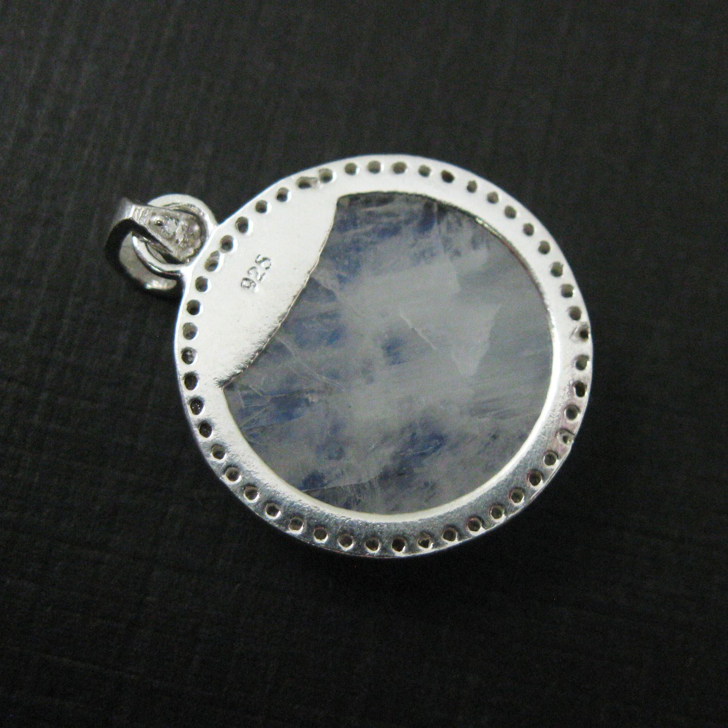 Sterling Silver Pave Bezel Gemstone Pendant - Cubic Zirconia Pave Setting -  Round Faceted Stone-Moonstone- 21mm