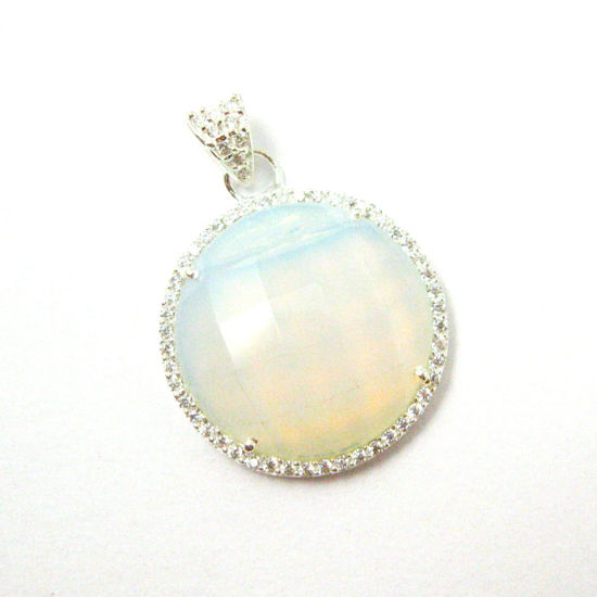 Sterling Silver Pave Bezel Gemstone Pendant - Cubic Zirconia Pave Setting -  Round Faceted Stone-Opalite Quartz- 21mm