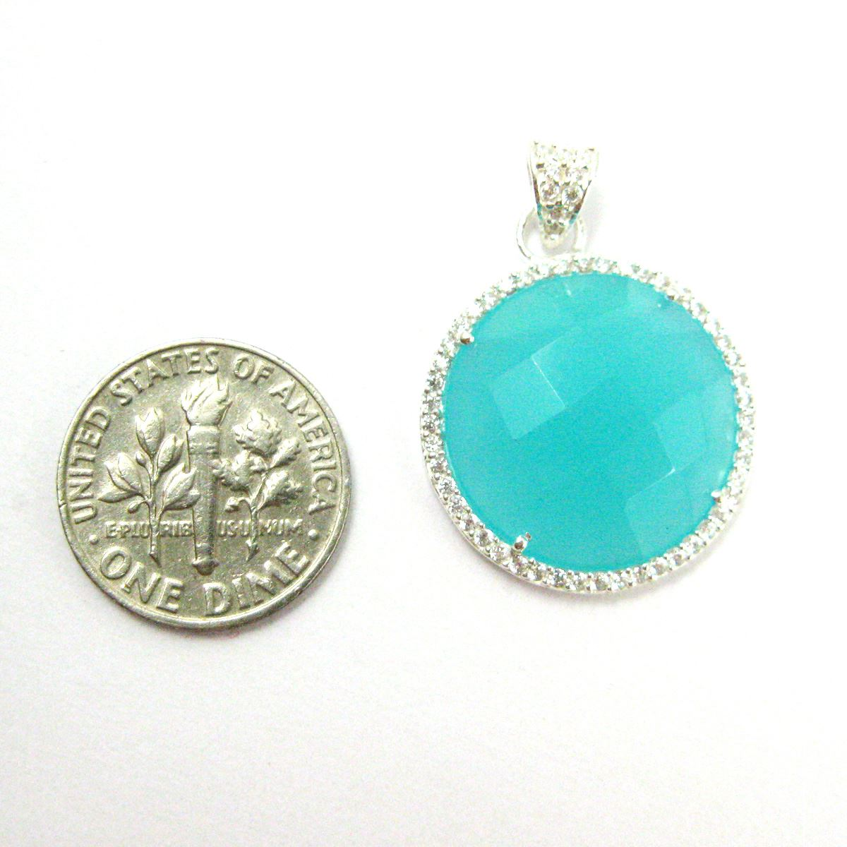 Sterling Silver Pave Bezel Gemstone Pendant - Cubic Zirconia Pave Setting -  Round Faceted Stone-Peru Chalcedony- 21mm
