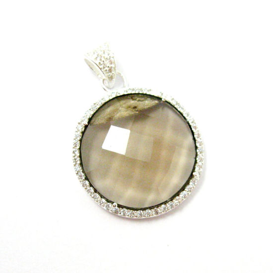 Sterling Silver Pave Bezel Gemstone Pendant - Cubic Zirconia Pave Setting -  Round Faceted Stone-Smokey Quartz- 21mm