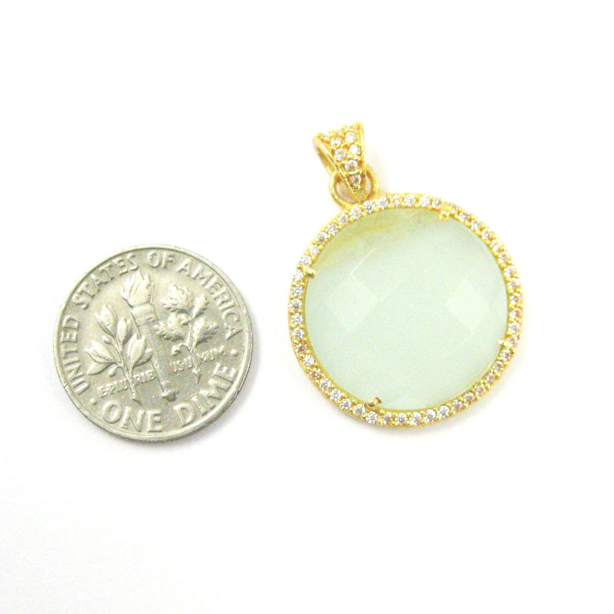 22k Gold plated Sterling Silver Pave Bezel Gemstone Pendant - Cubic Zirconia Pave Setting -  Round Faceted Stone-Aqua Chalcedony - 21mm