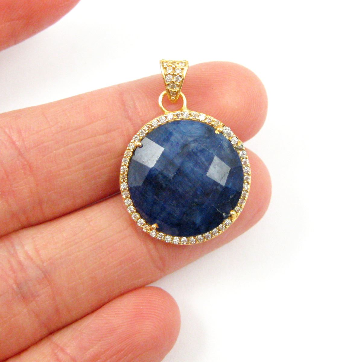 22k Gold plated Sterling Silver Pave Bezel Gemstone Pendant - Cubic Zirconia Pave Setting -  Round Faceted Stone-Blue Sapphire Dyed - 21mm