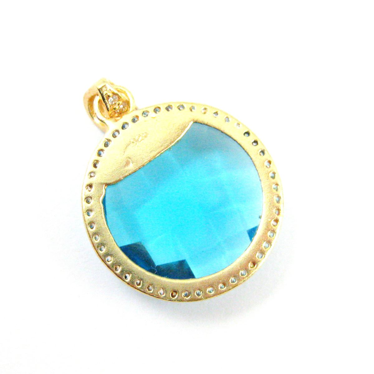 22k Gold plated Sterling Silver Pave Bezel Gemstone Pendant - Cubic Zirconia Pave Setting -  Round Faceted Stone-Blue Topaz Quartz - 21mm