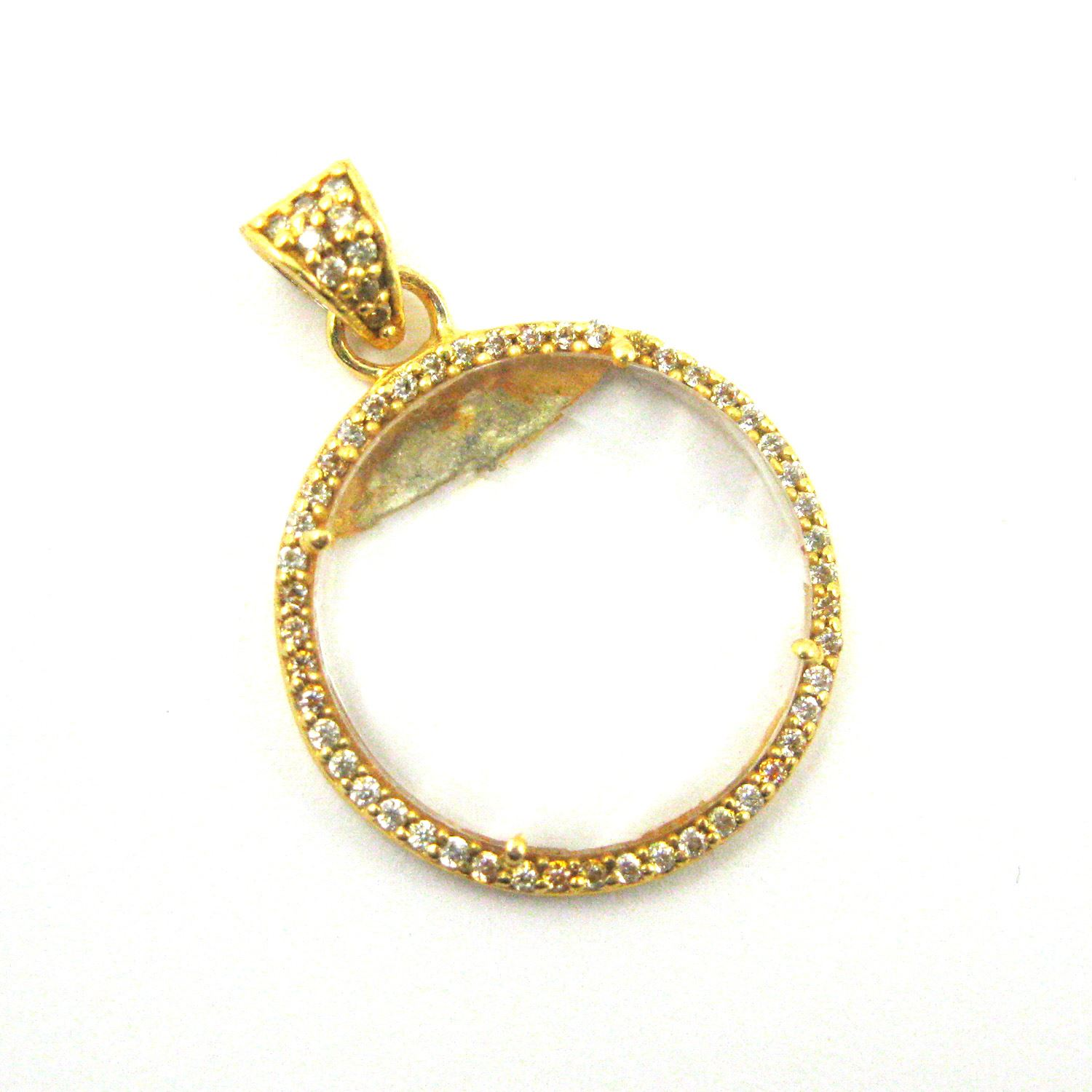 22k Gold plated Sterling Silver Pave Bezel Gemstone Pendant - Cubic Zirconia Pave Setting -  Round Faceted Stone- Crystal Quartz - 21mm