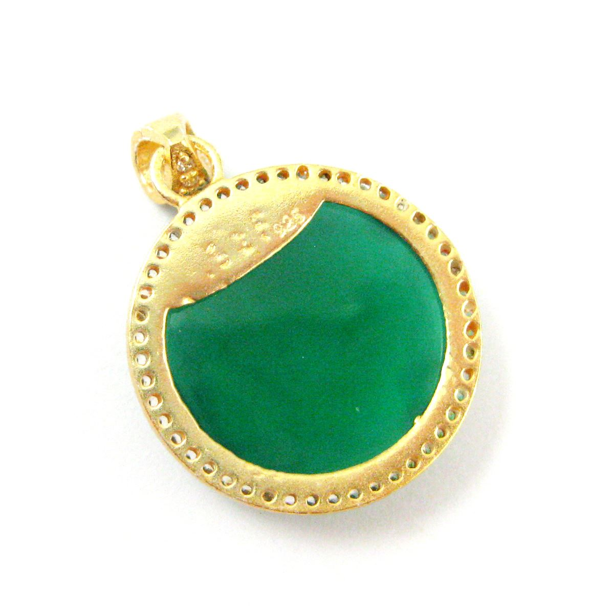 22k Gold plated Sterling Silver Pave Bezel Gemstone Pendant - Cubic Zirconia Pave Setting -  Round Faceted Stone- Green Onyx- 21mm