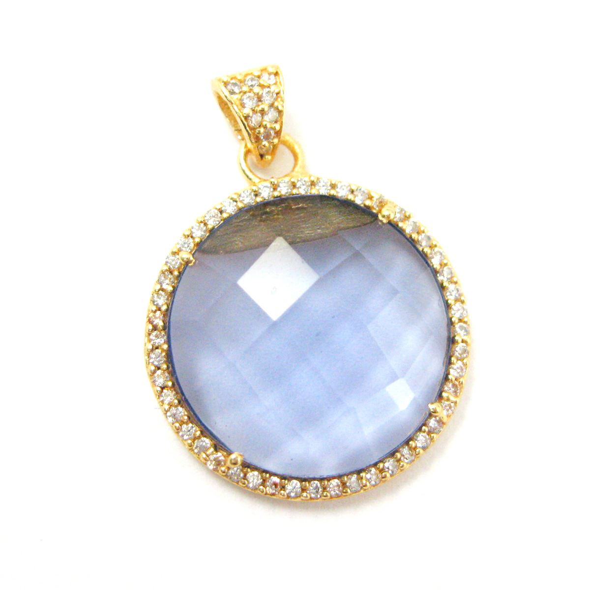 22k Gold plated Sterling Silver Pave Bezel Gemstone Pendant - Cubic Zirconia Pave Setting -  Round Faceted Stone- iolite Quartz- 21mm