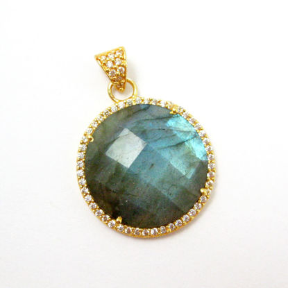 22k Gold plated Sterling Silver Pave Bezel Gemstone Pendant - Cubic Zirconia Pave Setting -  Round Faceted Stone- Labradorite - 21mm