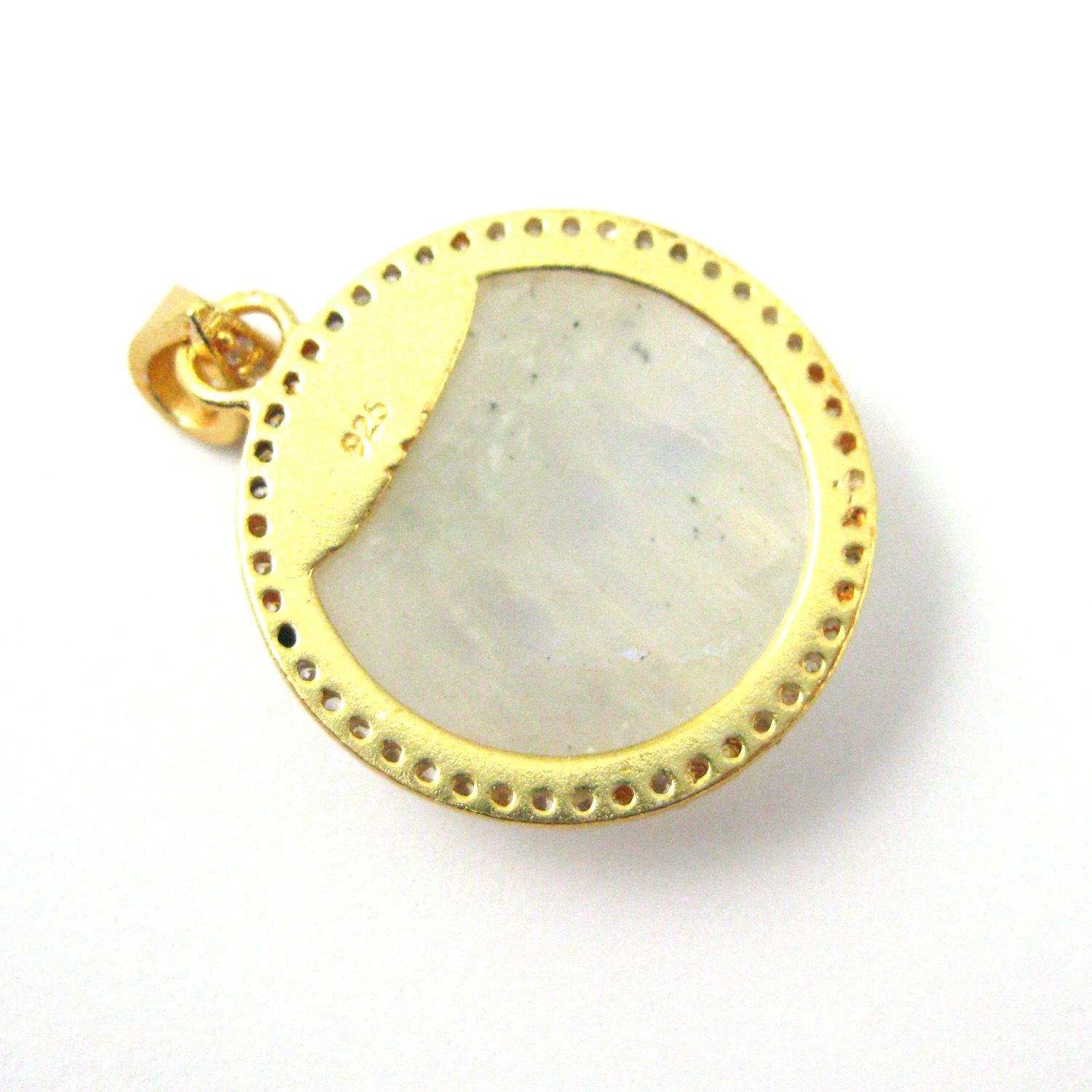 22k Gold plated Sterling Silver Pave Bezel Gemstone Pendant - Cubic Zirconia Pave Setting -  Round Faceted Stone- Moonstone - 21mm