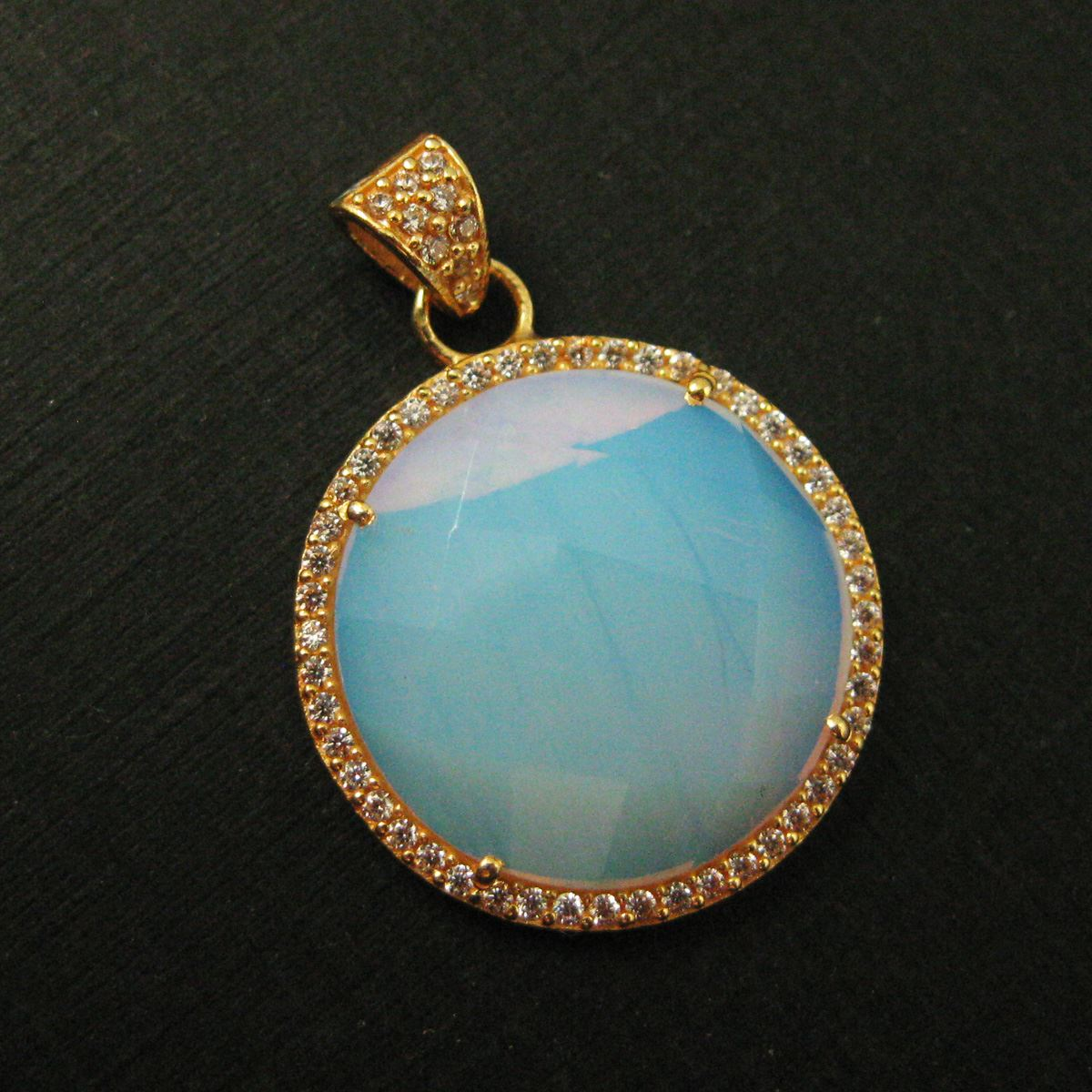 22k Gold plated Sterling Silver Pave Bezel Gemstone Pendant - Cubic Zirconia Pave Setting -  Round Faceted Stone- Opalite Quartz- 21mm