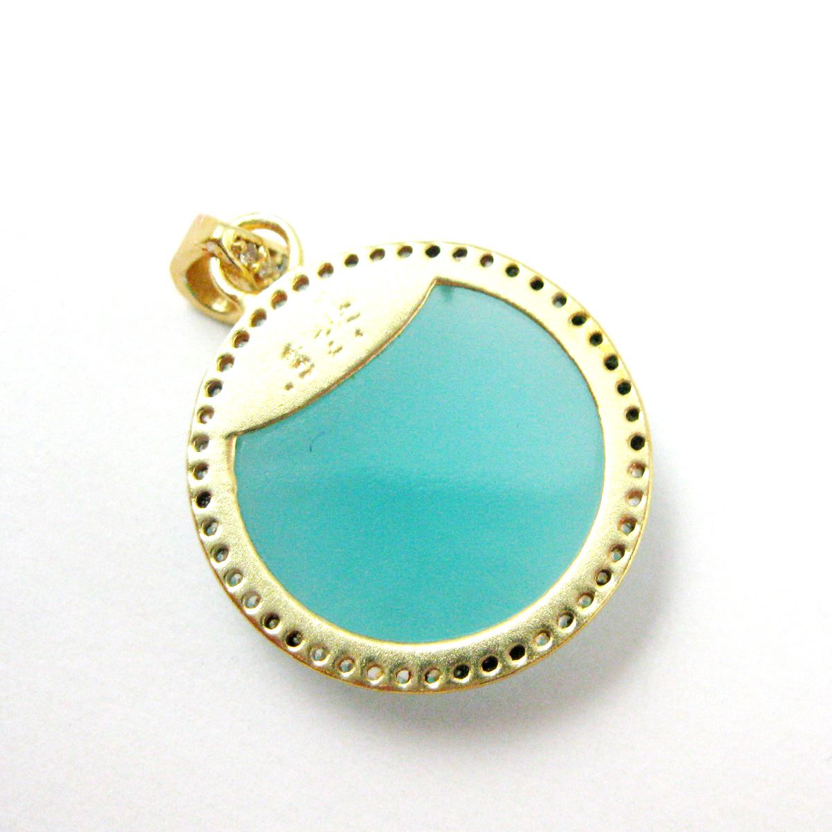 22k Gold plated Sterling Silver Pave Bezel Gemstone Pendant - Cubic Zirconia Pave Setting -  Round Faceted Stone- Peru Chalcedony- 21mm