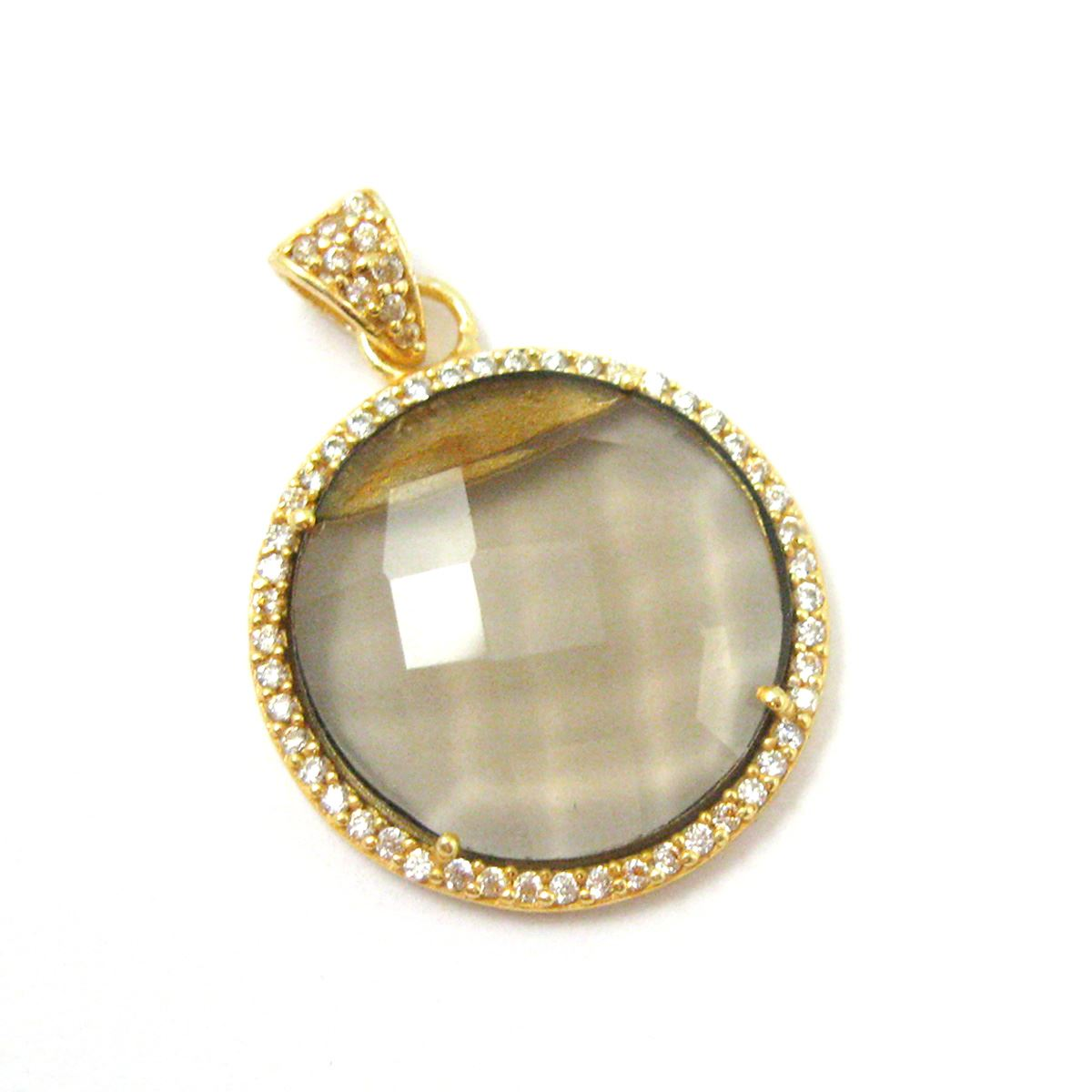 22k Gold plated Sterling Silver Pave Bezel Gemstone Pendant - Cubic Zirconia Pave Setting -  Round Faceted Stone- Smokey Quartz- 21mm