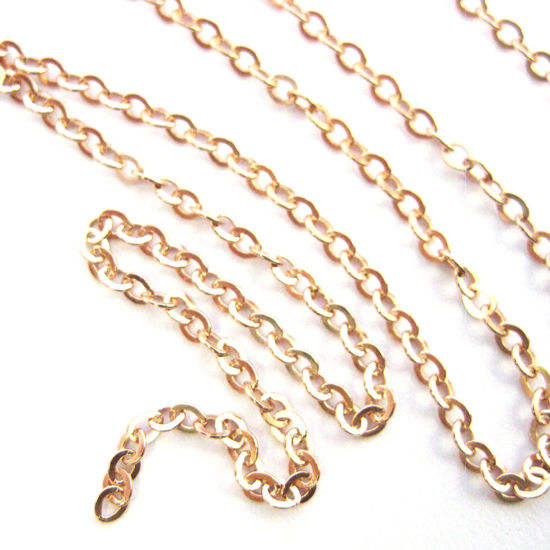 Rose Gold plated Sterling Silver Chain - Strong Flat Cable 2.3mm - Unfinished Chains, Bulk Chains  (Sold Per Foot)