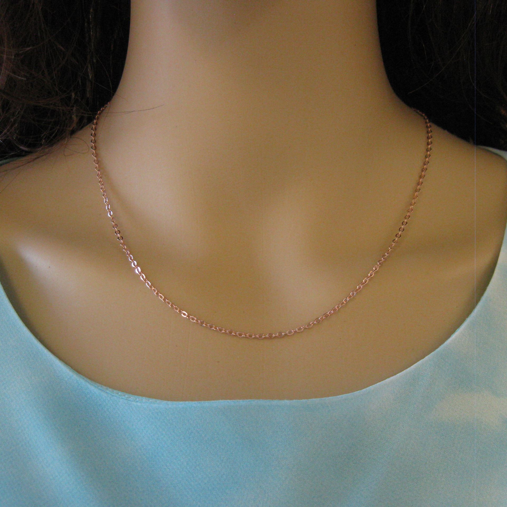 Rose Gold plated Sterling Silver Necklace Chain - Bracelet Chain - Anklet Chain - 2.3mm Strong Flat Cable -All Sizes