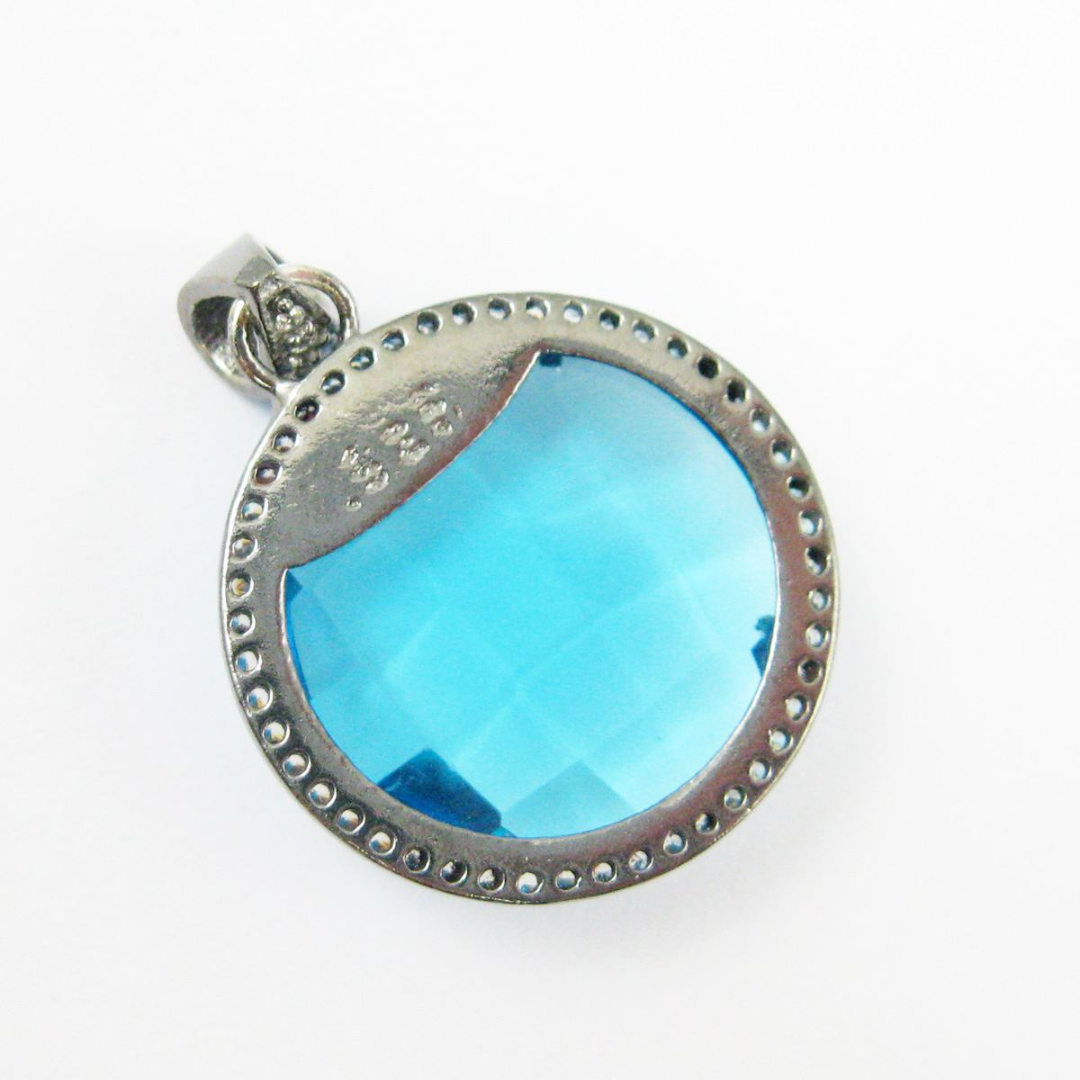 Oxidized Sterling Silver Pave Bezel Gemstone Pendant - Cubic Zirconia Pave Setting -  Round Faceted Stone-Blue Topaz Quartz - 21mm