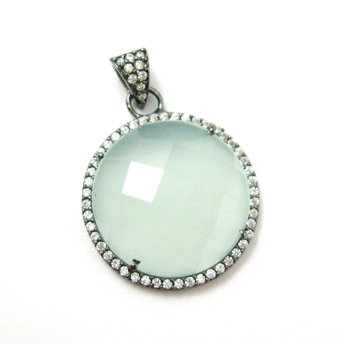 Oxidized Sterling Silver Pave Bezel Gemstone Pendant - Cubic Zirconia Pave Setting -  Round Faceted Stone-Aqua Chalcedony - 21mm