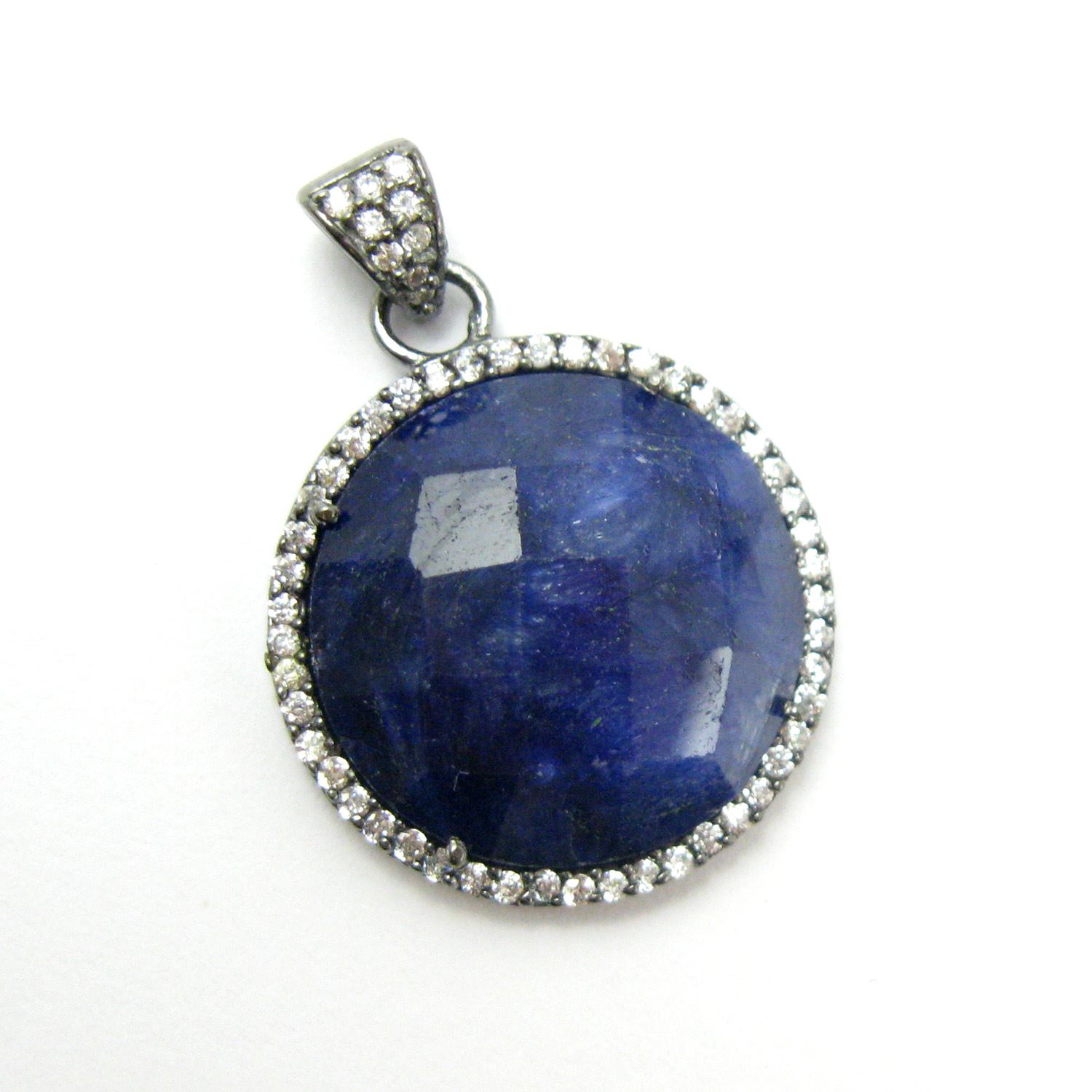 Oxidized Sterling Silver Pave Bezel Gemstone Pendant - Cubic Zirconia Pave Setting -  Round Faceted Stone-Blue Sapphire Dyed- 21mm