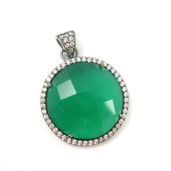 Oxidized Sterling Silver Pave Bezel Gemstone Pendant - Cubic Zirconia Pave Setting -  Round Faceted Stone-Green Onyx- 21mm