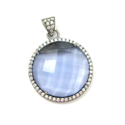 Oxidized Sterling Silver Pave Bezel Gemstone Pendant - Cubic Zirconia Pave Setting -  Round Faceted Stone- Iolite Quartz- 21mm