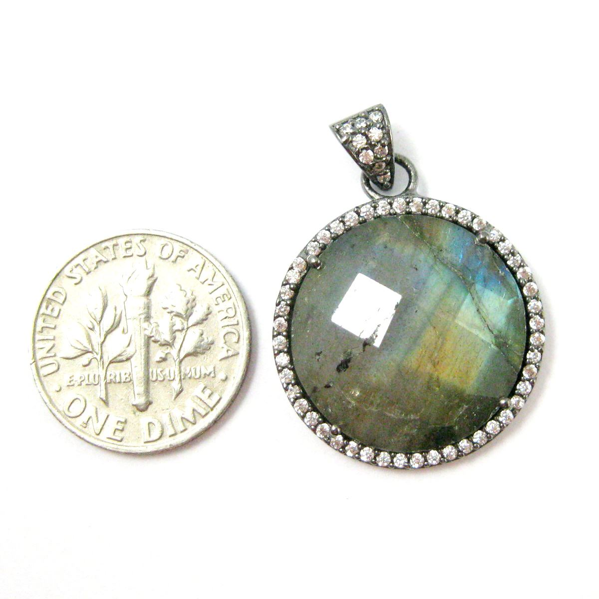 Oxidized Sterling Silver Pave Bezel Gemstone Pendant - Cubic Zirconia Pave Setting -  Round Faceted Stone-Labradorite - 21mm