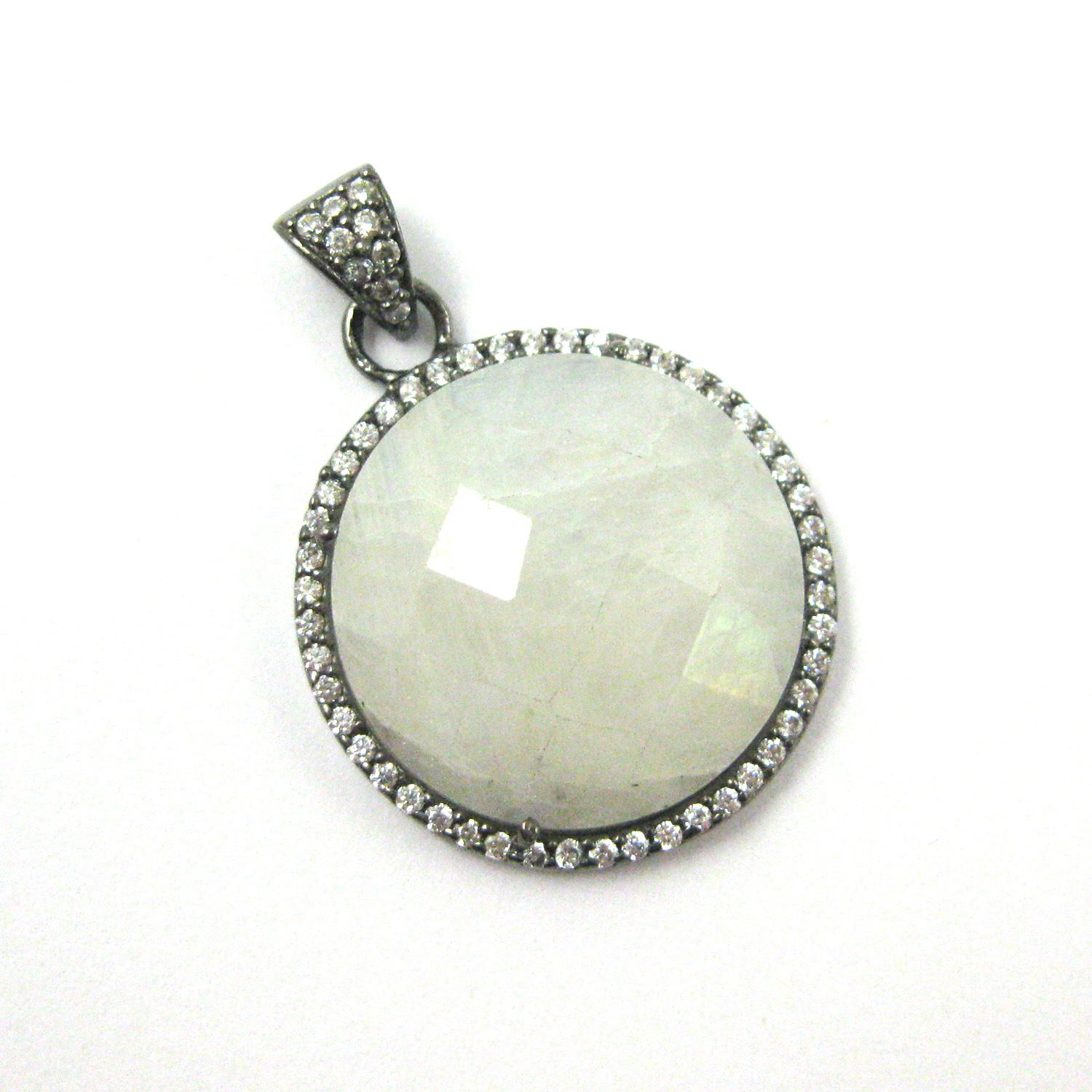 Oxidized Sterling Silver Pave Bezel Gemstone Pendant - Cubic Zirconia Pave Setting -  Round Faceted Stone- Moonstone - 21mm