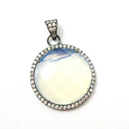 Oxidized Sterling Silver Pave Bezel Gemstone Pendant - Cubic Zirconia Pave Setting -  Round Faceted Stone- Opalite Quartz - 21mm