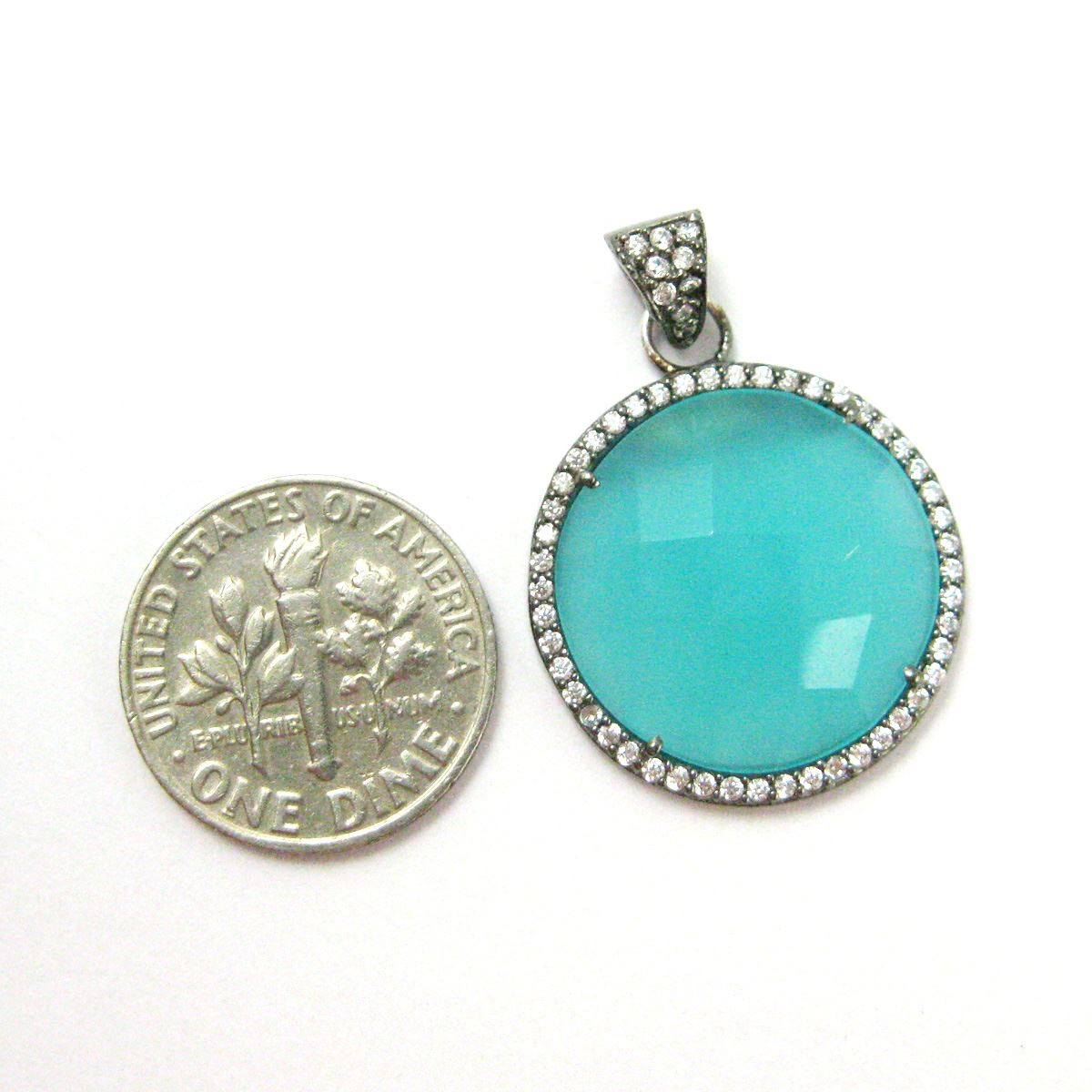 Oxidized Sterling Silver Pave Bezel Gemstone Pendant - Cubic Zirconia Pave Setting -  Round Faceted Stone- Peru Chalcedony - 21mm