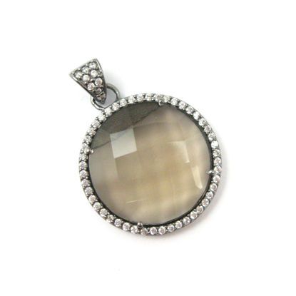 Oxidized Sterling Silver Pave Bezel Gemstone Pendant - Cubic Zirconia Pave Setting -  Round Faceted Stone- Smokey Quartz - 21mm