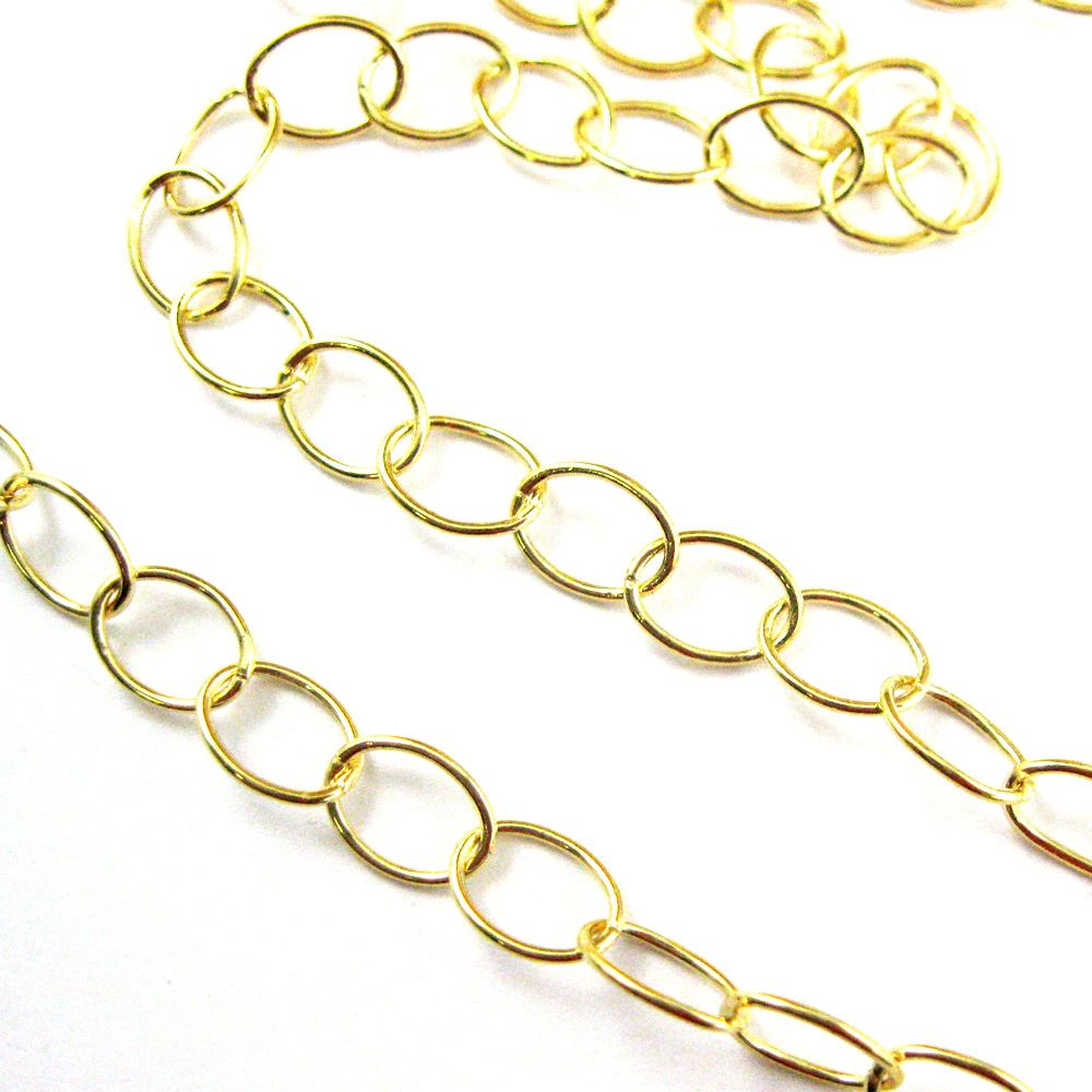 22K Gold plated Sterling Silver Chain- Vermeil Bulk Big Round Oval Cable Chain 8 x 6mm (Sold Per Foot)